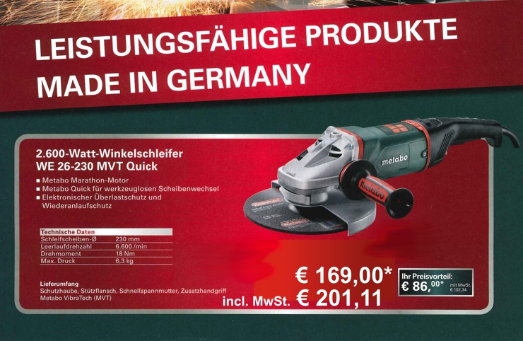 Powerpartner Aktion Metabo 2600-Watt-Winkelschleifer